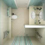 decor modern in bleu si crem baie mica cabina de dus turcesc wc si chiuveta
