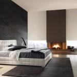 decor modern minimalist dormitor dotat cu semineu