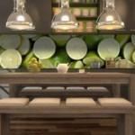 decor perete bucatarie panou sticla imprimata digital lamai verzi