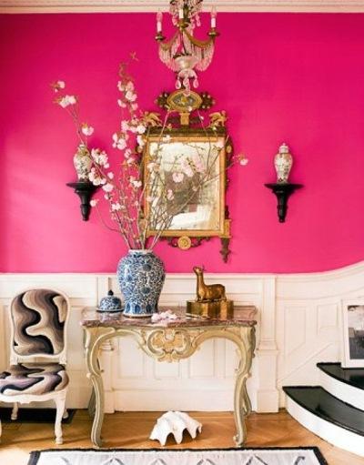 decor pereti hol alb roz