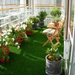 decor vara balcon mocheta verde ghivece petunii masuta si scaune lemn