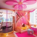 decoratiune din rigips in forma de floare tavan camera fetita