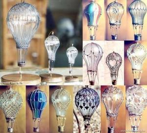 decoratiuni handmade in forma de balon de aer cald din becuri