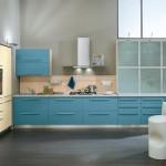 design bucatarie moderna mobila bleu si crem