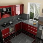 design mobila bucatarie moderna culoare rosie