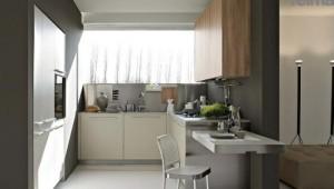 design mobila bucatarie moderna minimalista alb gri si maro