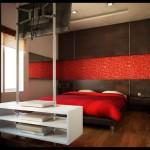 dormitor burlac rosu si negru televizor suspendat