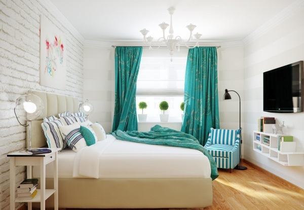 dormitor culoare turcoaz
