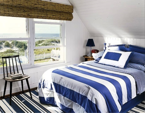 dormitor de inspiratie maritima amenajat in mansarda