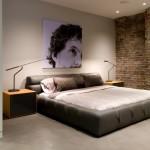 dormitor eclectic masculin perete caramida