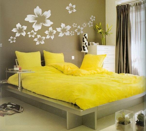dormitor galben gri modern