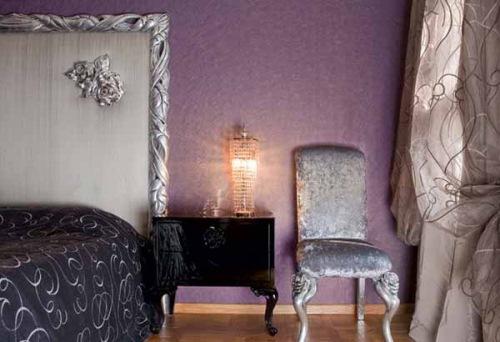 dormitor lila cu argintiu