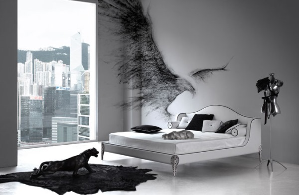 dormitor minimalist aenajat in alb gri si negru