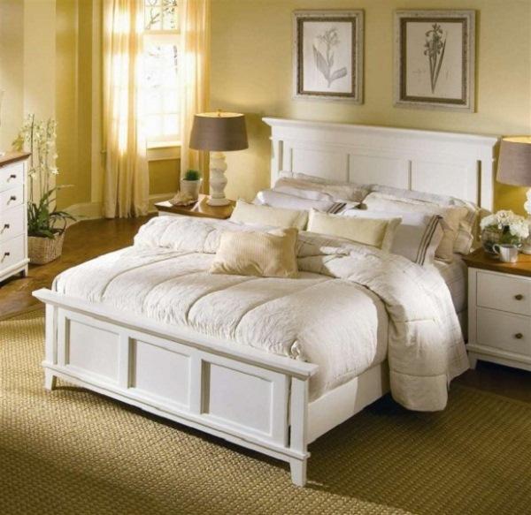 dormitor mobila alba pereti galbeni