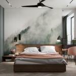 dormitor modern apartament cu accente gri si roz pudrat