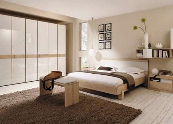 dormitor modern bej maro deschis