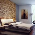 dormitor modern decor perete rustic mozaic lemn