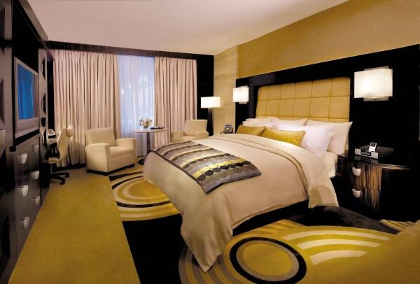 dormitor modern galben negru
