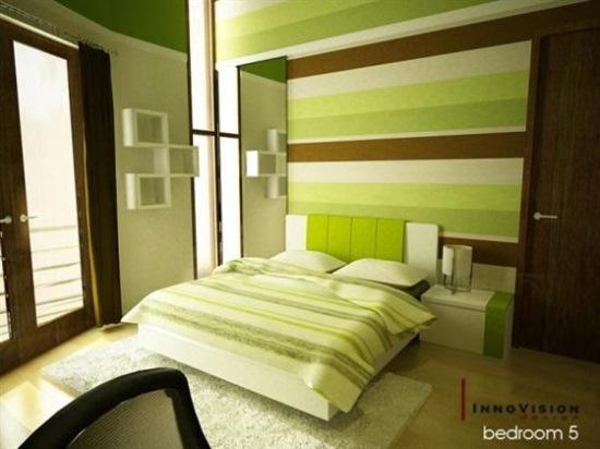dormitor modern imprimeu dungi orizontale