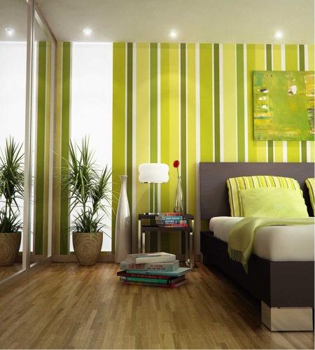 dormitor modern imprimeu dungi verticale