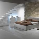 dormitor modern minimalist decorat cu piatra naturala