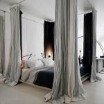 dormitor modern minimalist pat cu baldachin pe sina