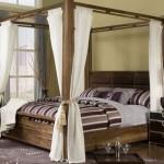 dormitor modern pat lemn masiv cu baldachin