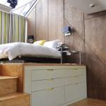 dormitor modern pat platforma cu sertare depozitare