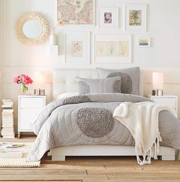 dormitor modern romantic cuvertura impletita pat