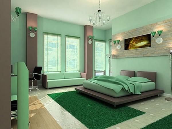 dormitor modern verde smarald