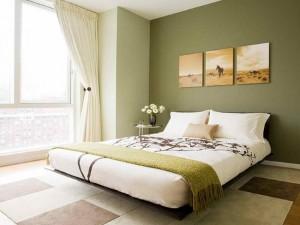 dormitor relaxant si linistitor zugravit in verde olive