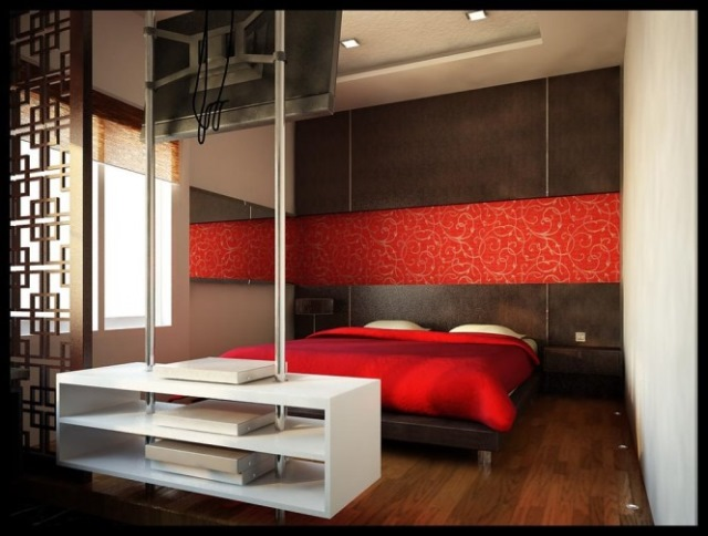 dormitor rosu modern