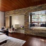 dormitor rustic modern decorat cu piatra naturala