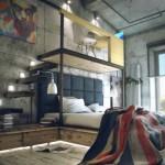 dormitor stil loft