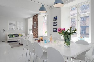 dusumea alba interior open space stil scandinav decor caramida