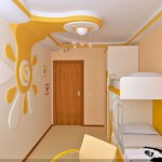 element decorativ din gips carton in alb si galben tavan camera copil
