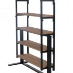 etajera transformabila SWING cadru otel negru polite lemn stejar