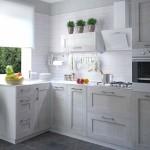 exemplu amenajare bucatarie apartament mobia furnir lemn alb model 2019