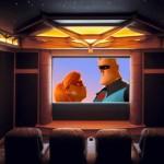 exemplu amenajare sala de cinema acasa decor mov inchis pereti