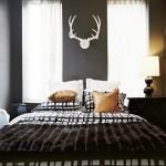 exemplu dormitor celibatar decor perete coarne cerb