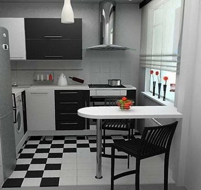 exemplu mobila bucatarie moderna mica alb si wenge