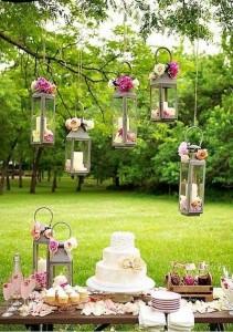 felinare cu lumanari decor petrecere campeneasca zi de nastere botez sau nunta