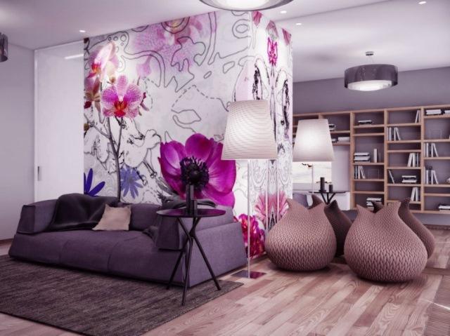 foto tapet imprimeu floral decor perete living modern