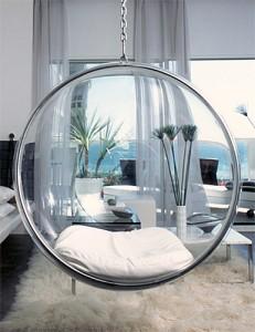 fotoliu balansoar sferic suspendat din fibra sticla interior living modern