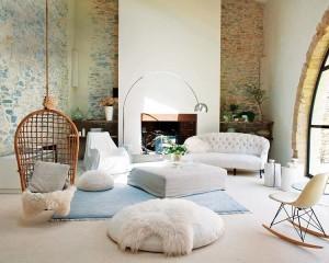 fotoliu impletit suspendat interior living rustic