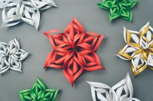 fulgi 3d din hartie ornament handmade pentru brad craciun
