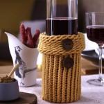 husa decorativa sticla vin crosetata manual