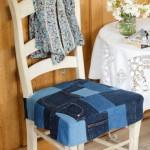 husa scaun bucatarie din petice de jeansi vechi