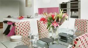 huse scaune bucatarie moderna imprimeu buline colorate