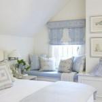idee amenajare dormitor alb si bleu pastel la mansarda
